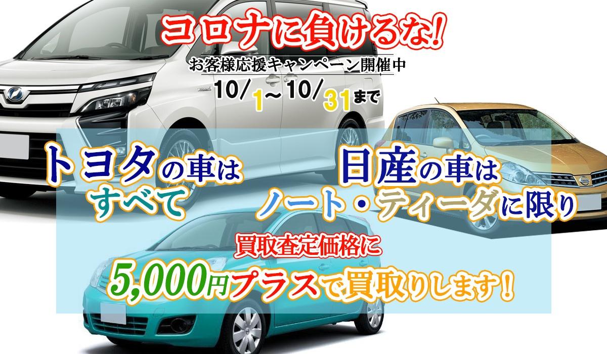 トヨタ車すべて・日産車はノート・ティーダ限定!買取価格に5,000円プラスキャンペーン