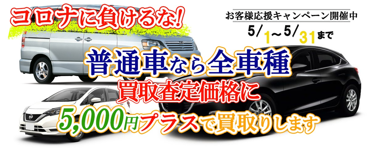 普通車なら全車種、買取査定価格に5,000円プラスキャンペーン